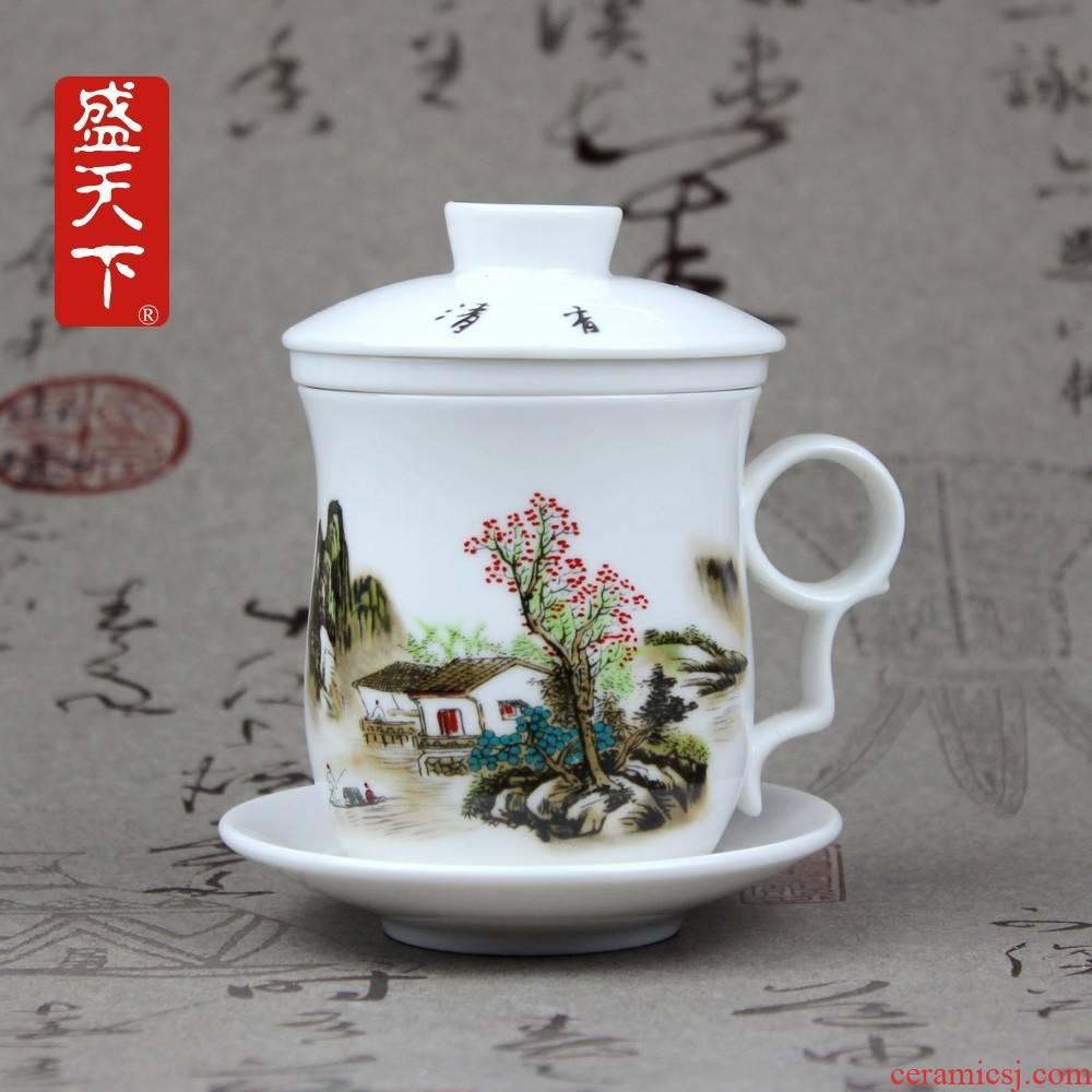 Qiao mu jingdezhen ceramic cup four cups with cover filter ceramic cups sample tea cup China cups