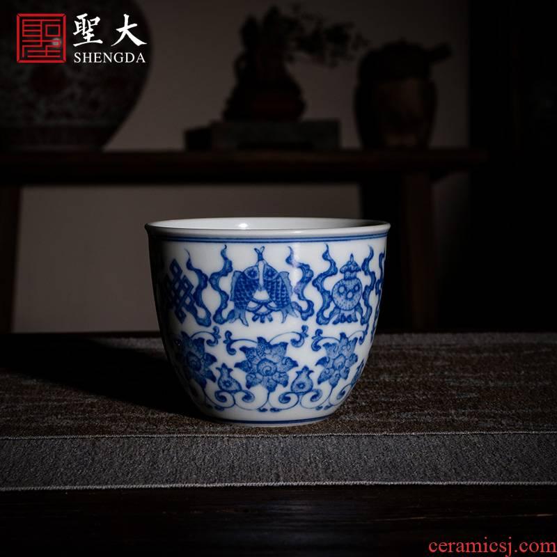 Santa jingdezhen ceramic masters cup tea cups hand - made green Hualien eight auspicious grain lie fa cup sample tea cup