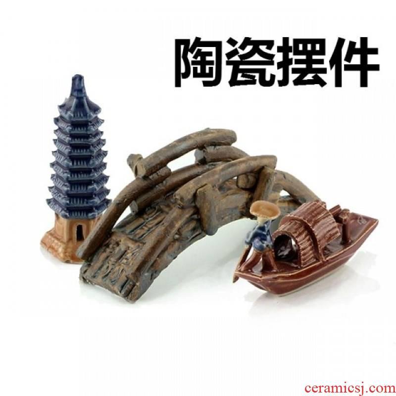 Aquariums landscape decoration in Aquariums furnishing articles ceramics handicraft pagoda boat bridge pavilion
