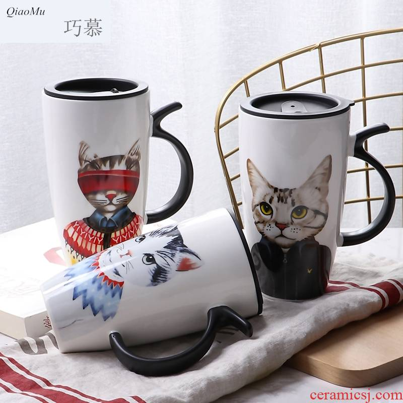 Qiao mu cat high - capacity ceramic keller with cover, lovely creative household contracted office ultimately responds cup