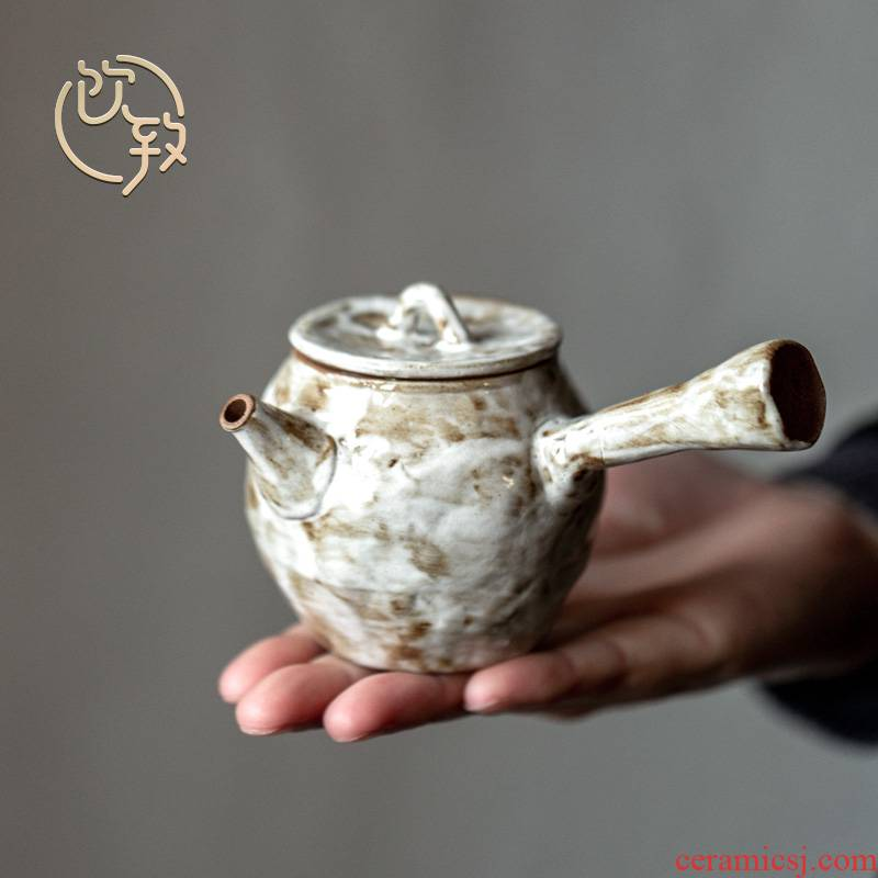 Ultimately responds to hand the wood up change retro side put the pot of Japanese tea set single pot of a single filter ceramic checking teapot