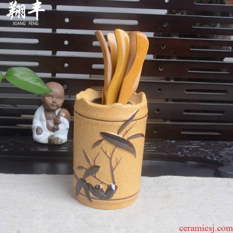 Qiao mu accessories tea six gentleman 's suit coarse TaoShi MuZhu kung fu tea tea tea tray was furnishing articles