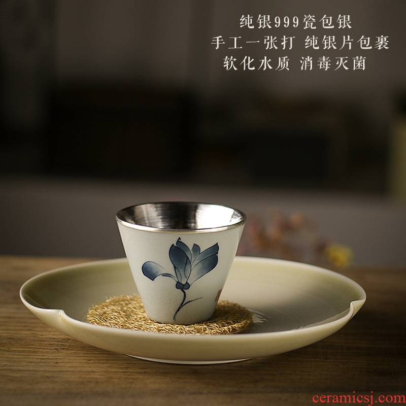 Blue and white porcelain ceramic silvering teacup kung fu masters cup tea set personal special glass cups single sample tea cup