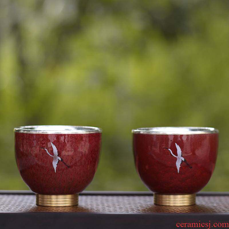 Japanese ceramics silvering copper bottom kung fu tea cups master cup single CPU female male high - end personal special sample tea cup