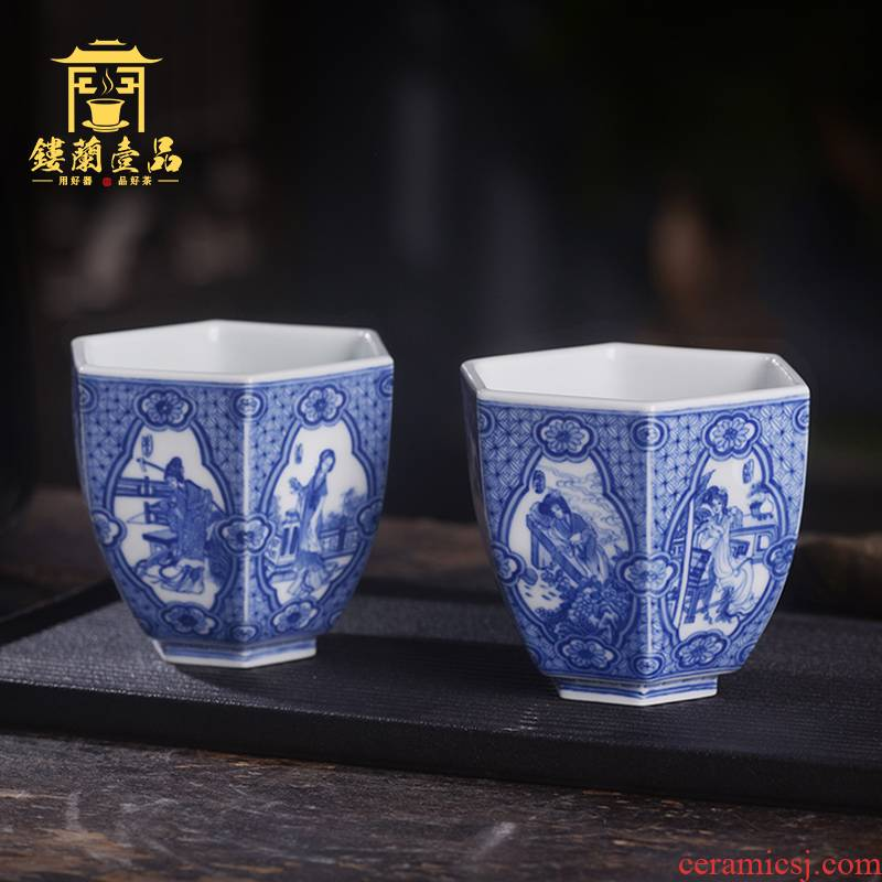Arborist benevolence blue jinling twelve women for master of jingdezhen ceramic hand - made single CPU kung fu tea sets a cup of tea cups