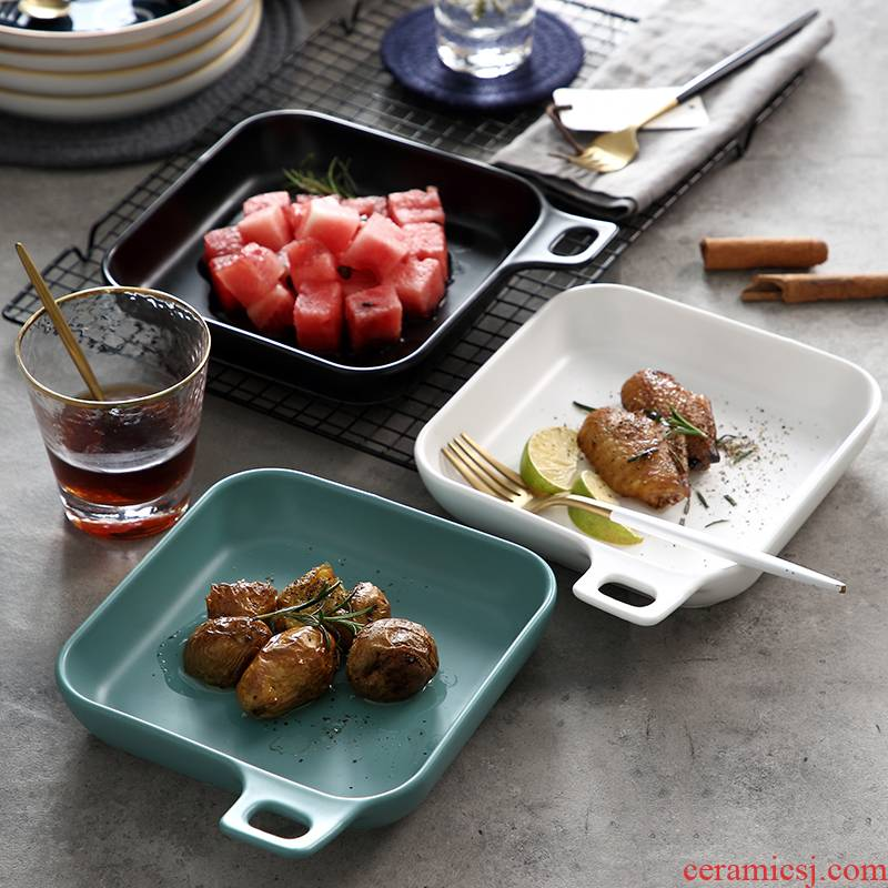 Creative flat - bottomed baking tray oven microwave oven pan dinner plate irregular square, flat ceramic plate