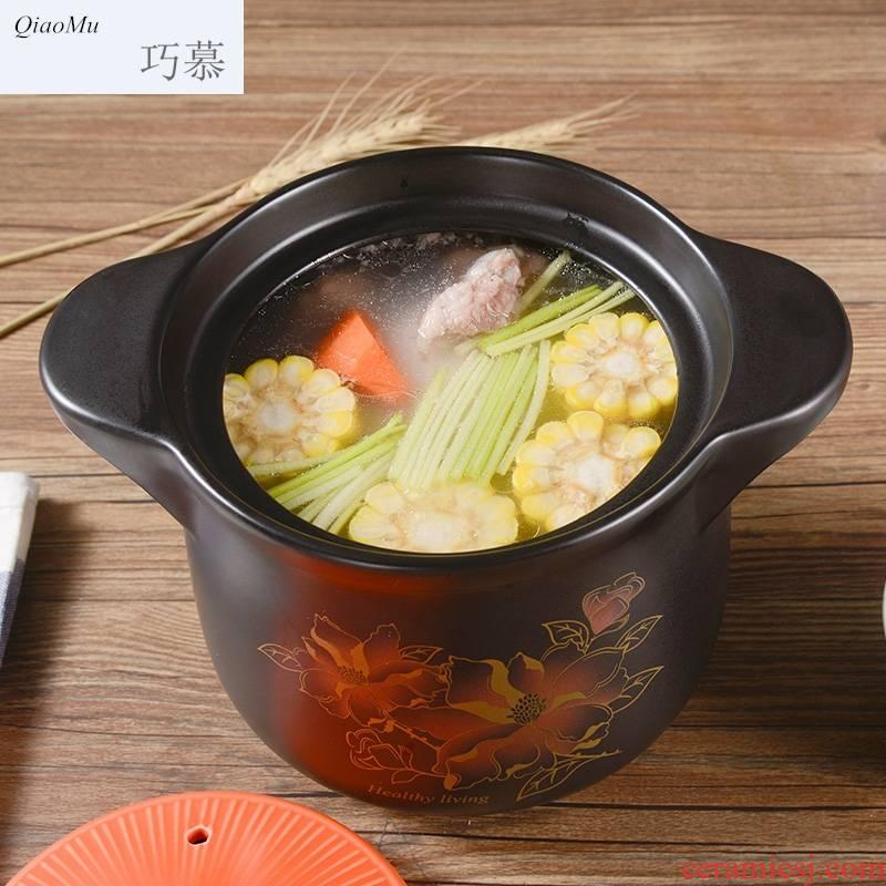 Qiao mu big ceramic casserole stew pot soup pot household high - temperature dry not cracked gas firing stone bowl