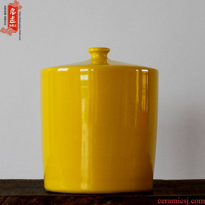 Jingdezhen ceramics ceramics with cover straight canister simple single glaze decoration elegant household furnishing articles