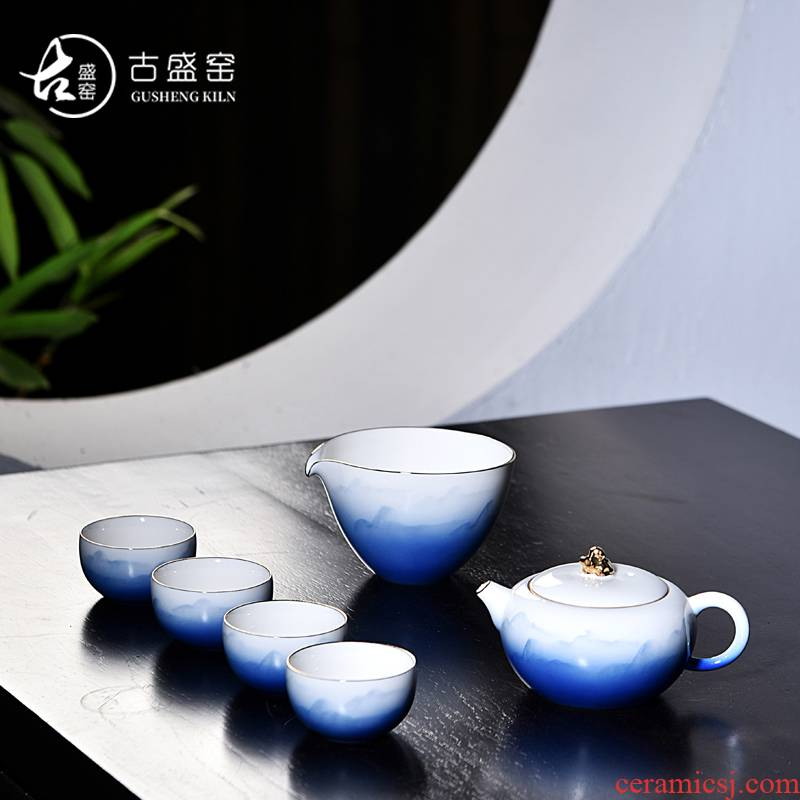 Ancient sheng up hand - made landscape painting crack of blue and white porcelain cup tureen a pot of three cups of white porcelain tea tea set suits for the to travel