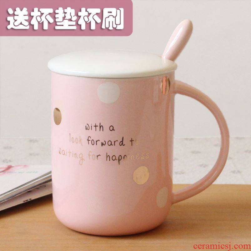 Drinking cups with cover of pottery and porcelain spoon contracted office keller creative household lovers koubei ins men and women