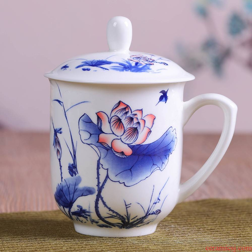 Qiao mu jingdezhen ceramic cups porcelain cup with cover ipads China cups gift mugs working meeting of ceramic cup