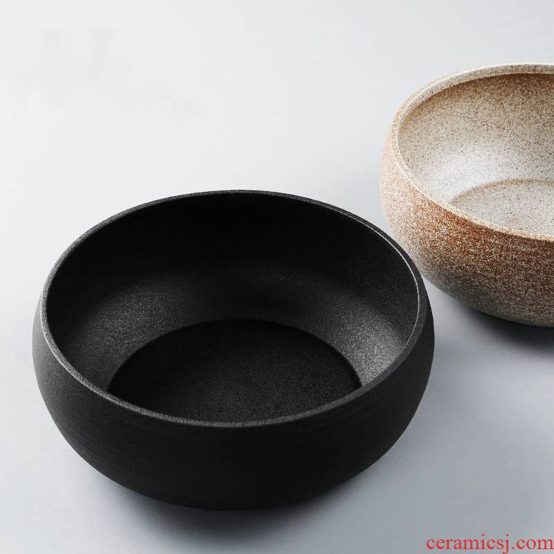 Qiao mu round black pottery large ceramic water to wash dishes cup dross barrels of writing brush washer from kung fu tea tea tea accessories