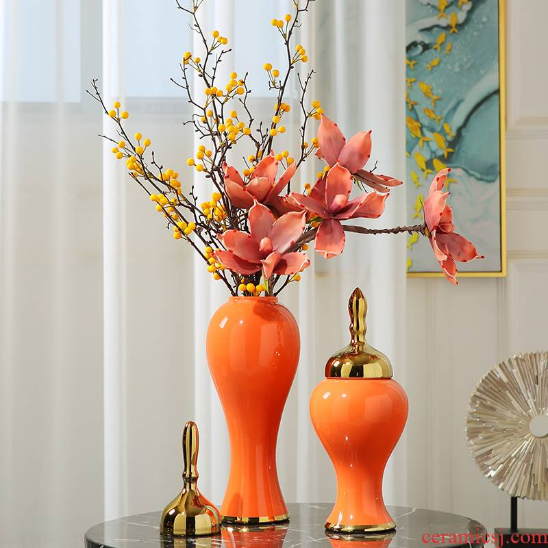 Modern light key-2 luxury living room TV cabinet ceramic vase simulation dry flower arranging flowers is placed American creative home decorations