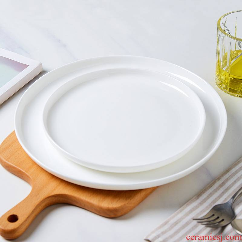 Japanese white ipads China plate son home round flat chassis west pot dish dessert plate ceramic disc steak plate