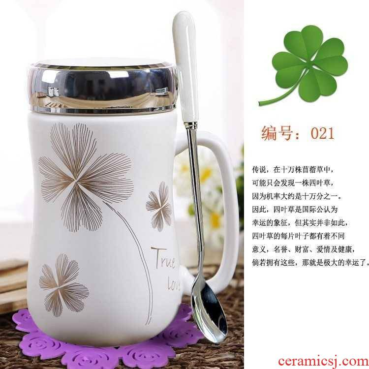 Simple office new glass tea cup with the ceramic creative mark cup high - capacity getting out with a spoon