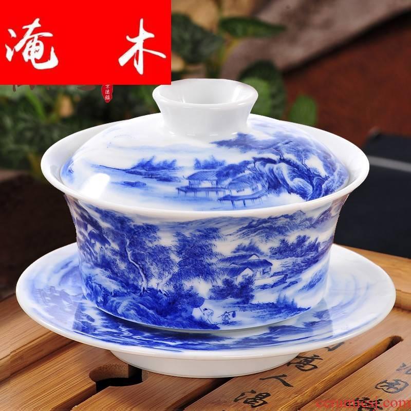 Submerged wood pure manual tureen large heavy fine pen hand - made cups landscape jingdezhen blue and white porcelain tea set