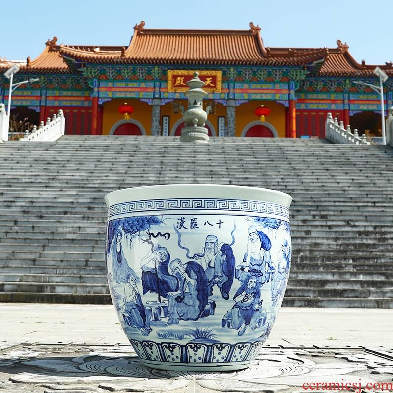 Jingdezhen ceramic goldfish bowl hand - made blue large turtle cylinder basin sitting room lotus lotus lotus brocade carp