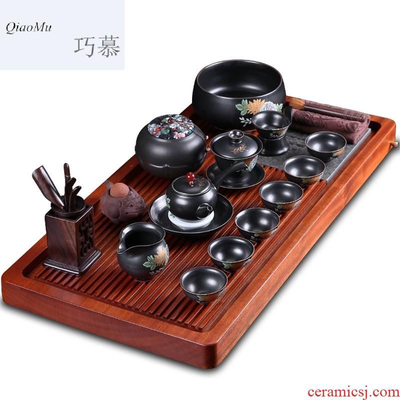 Qiao mu hua limu tea set elder brother up of a complete set of automatic kung fu tea set solid wood tea tray was purple sand teapot