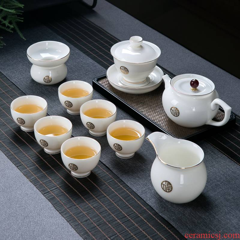 Suet jade white porcelain kung fu tea set home sitting room of jingdezhen ceramic paint a small set of contracted tea