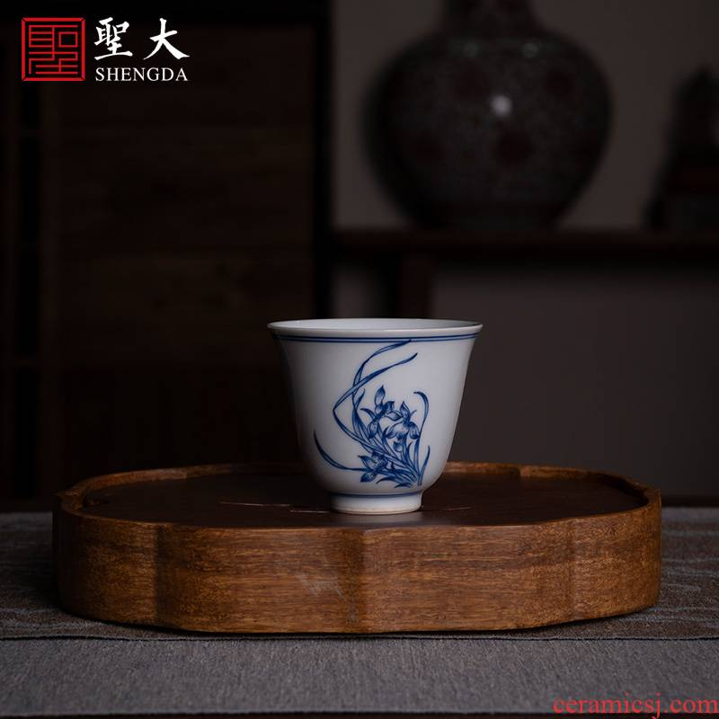 """Holy big ceramic kung fu tea cups jingdezhen porcelain cup of pure manual """"orchid"""" sample tea cup masters cup"""