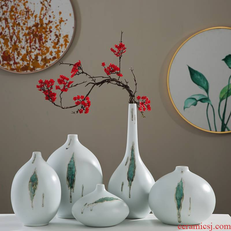 The New Chinese jingdezhen ceramic vase furnishing articles sitting room porch table decorations dry flower arranging zen tea room decoration