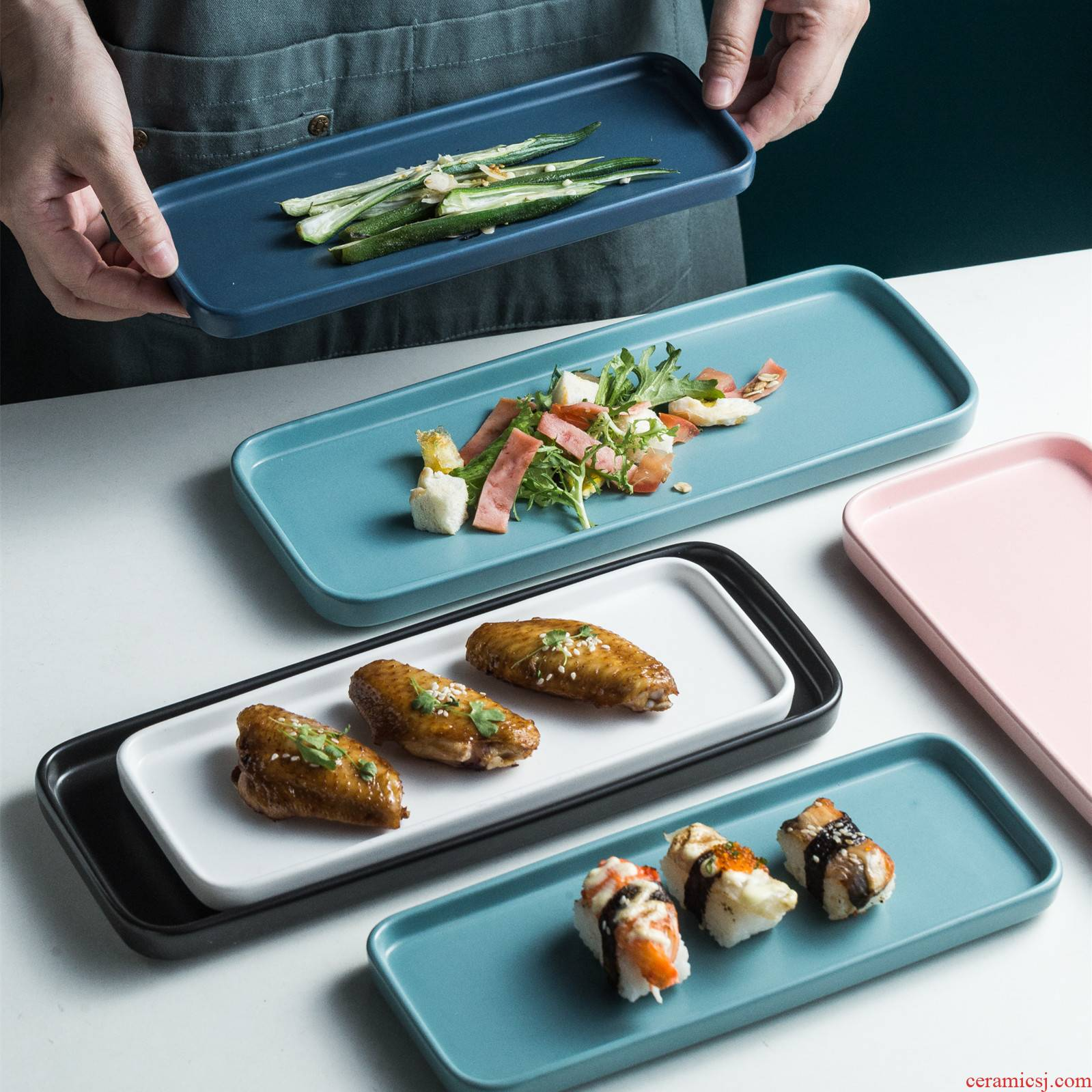 Strip plate household ceramic plate Nordic sushi snack food dish food dish square plates dish fastfood tableware