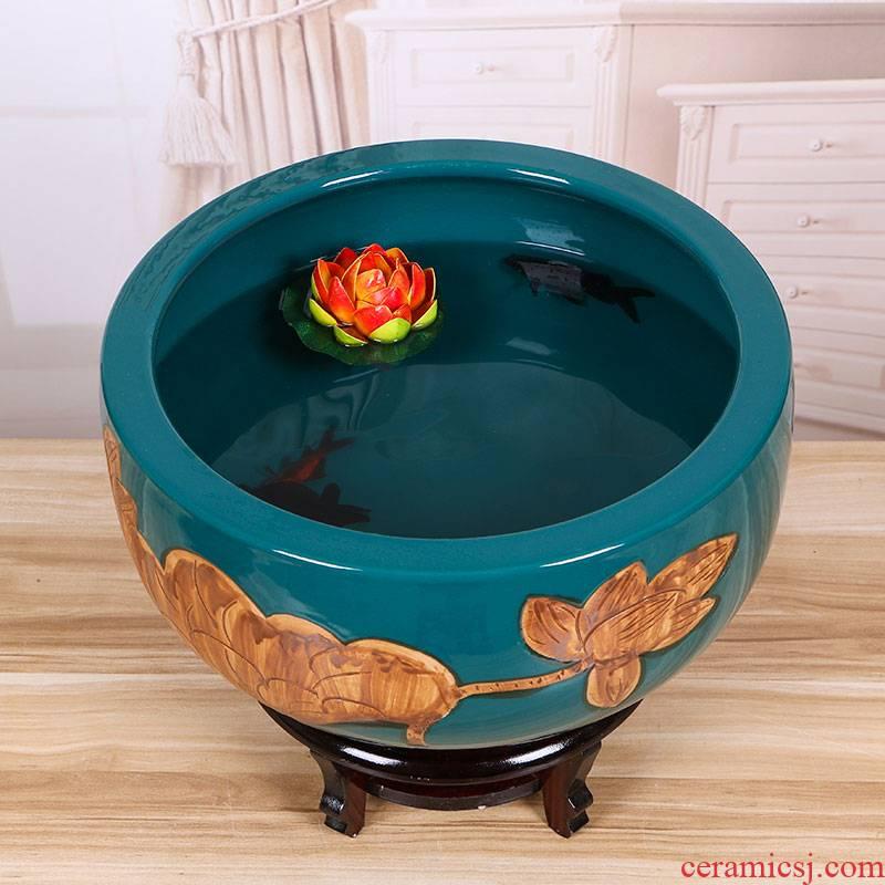 Jingdezhen ceramic aquarium raising goldfish bowl lotus lotus basin tortoise cylinder tank sitting room place lotus