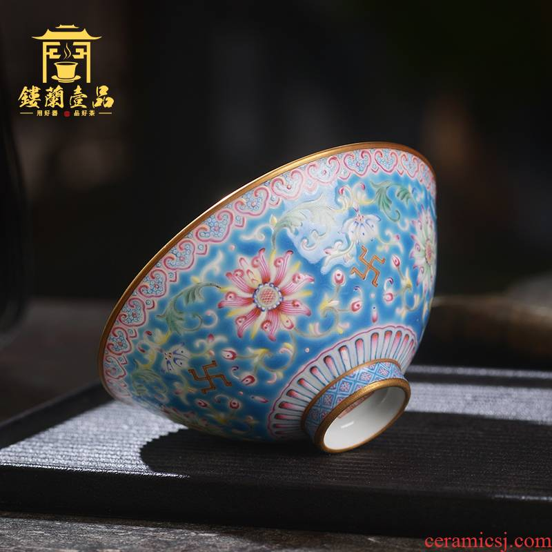 Overflow Jane hall to put lotus flower blue master cup of jingdezhen ceramic hand - made single CPU kung fu tea cup sample tea cup individuals