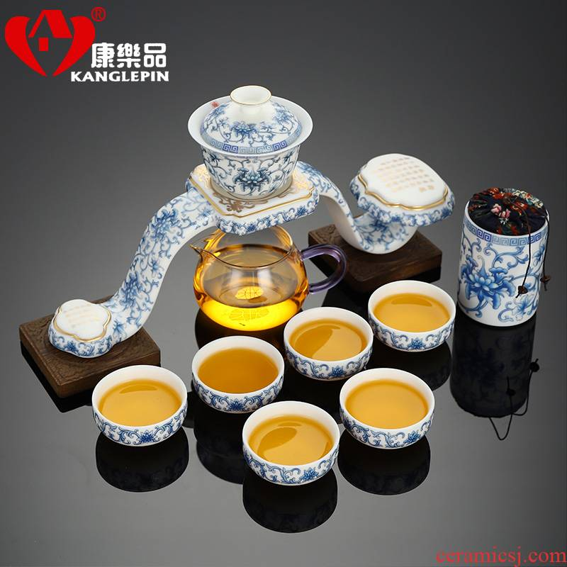 Recreational product originality of a complete set of blue and white porcelain automatic kung fu tea set home fit the hot tea is fine