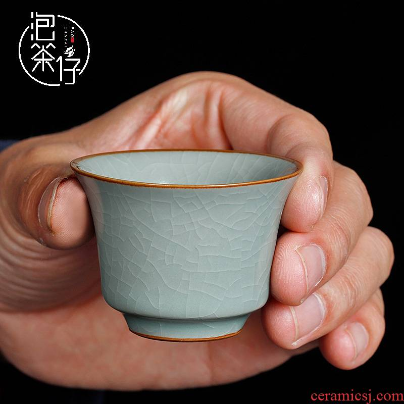 Your up tea set Your porcelain teacup personal single cup pressure hand cup master cup slicing can be a pure manual cyan calving day