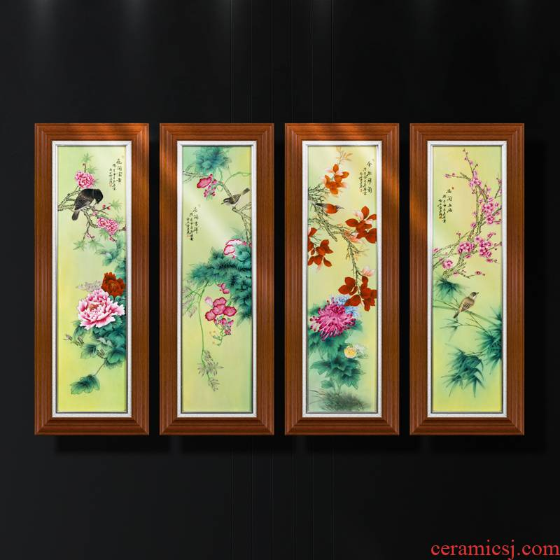 Art of jingdezhen porcelain plate paintings of Chinese style manual coloured drawing or pattern ceramic sitting room sofa setting wall decoration solid wooden frame, hang a picture