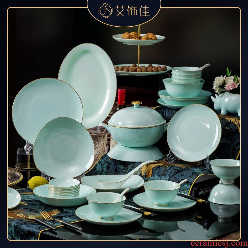 Jingdezhen high - grade light shadow celadon tableware suit household European contracted hand - made key-2 luxury up phnom penh ipads plate combination