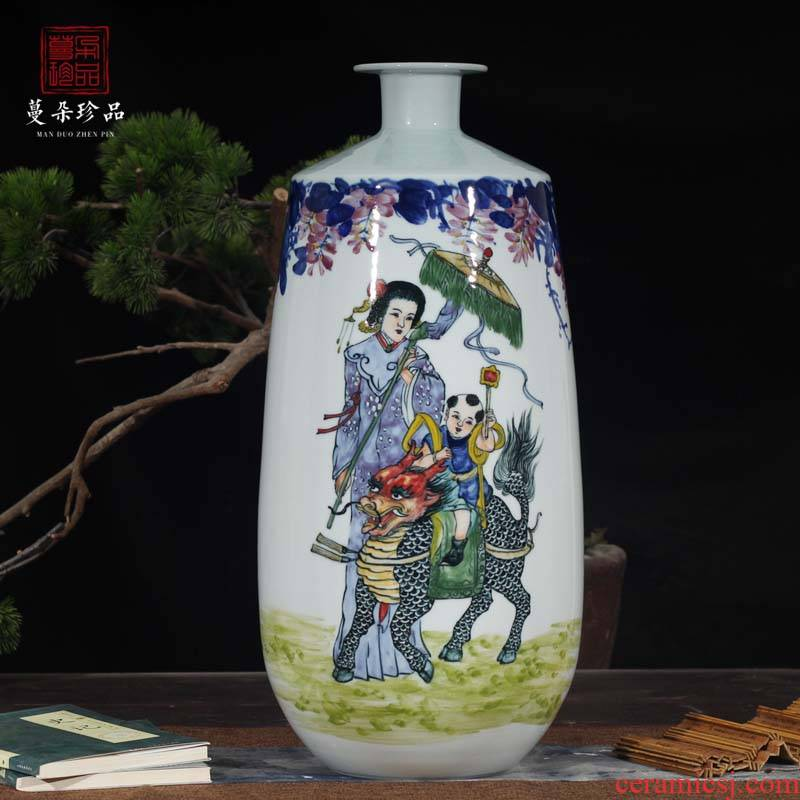 Jingdezhen laughs a kirin SongZi display vase vase vase elegant blue and white porcelain display art