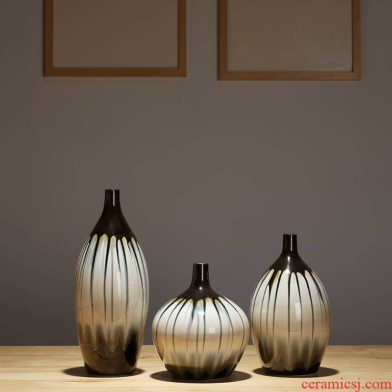 Jingdezhen ceramics from modern home sitting room place, a new Chinese zen artificial flowers dried flower vase set decoration