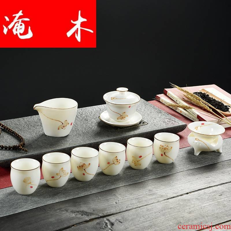 Submerged wood hand - made suet jade porcelain tea set kung fu tea set gift porcelain tureen cups gift boxes