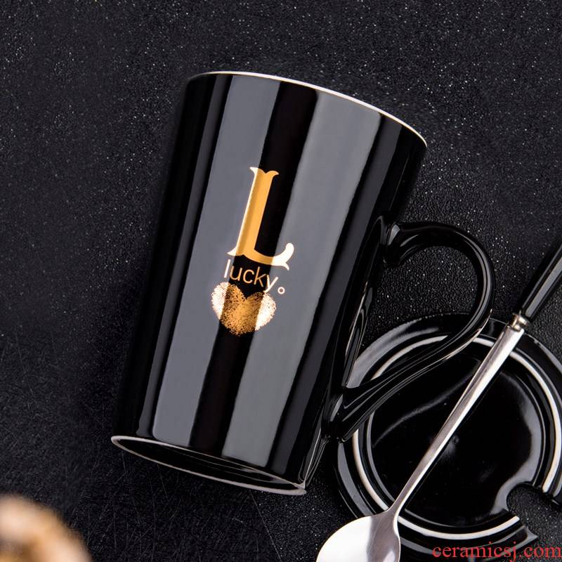 Coffee cup size large capacity extra - large ceramic cup sweethearts individuality creative trend mark cup with cover teaspoons of men and women