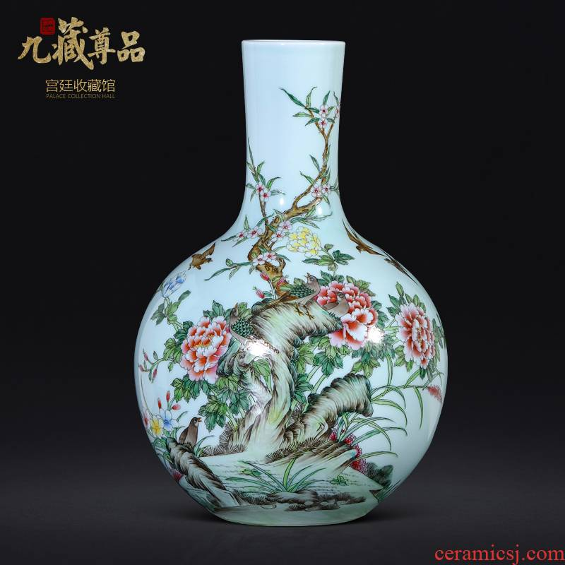 Antique hand - made jingdezhen ceramics powder enamel vase of new Chinese style living room TV ark, flower arranging porch is decorated furnishing articles