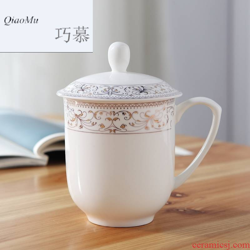 Qiao mu jingdezhen ceramic cups with cover office conference room suit 400 ml cups up phnom penh ipads China cups 10