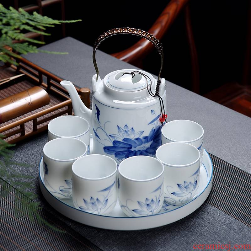 Jingdezhen hand - made porcelain of kung fu tea set suit small household of Chinese style ceramic girder pot cup teapot tea tray