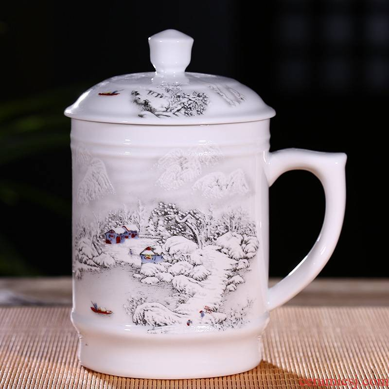 Qiao mu jingdezhen ceramic cups with cover ipads China porcelain personal office and meeting with a cup of water glass porcelain