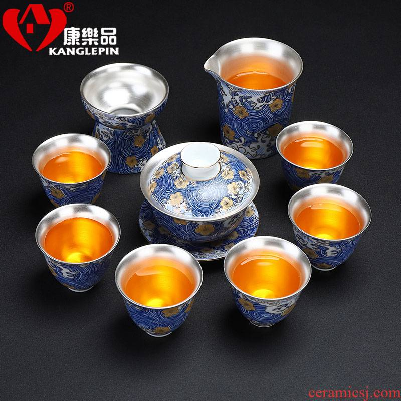 Recreational product ceramic coppering. As silver 999 kung fu tea set tureen teapot small tea cups of a complete set of gift boxes