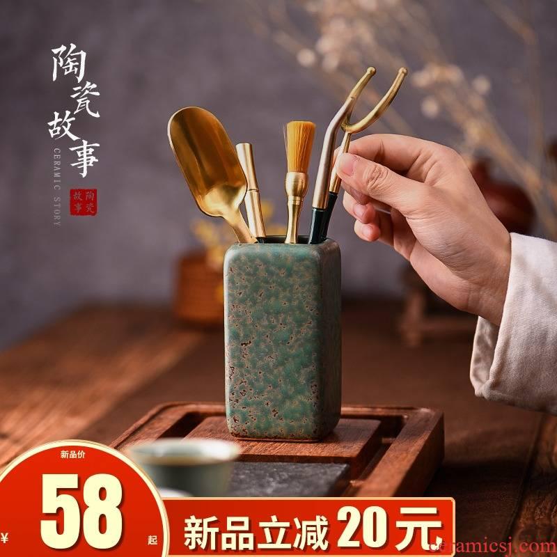 Ceramic knives story tea tea six gentleman 's suit ChaZhen kung fu light key-2 luxury ebony pure copper tea accessories