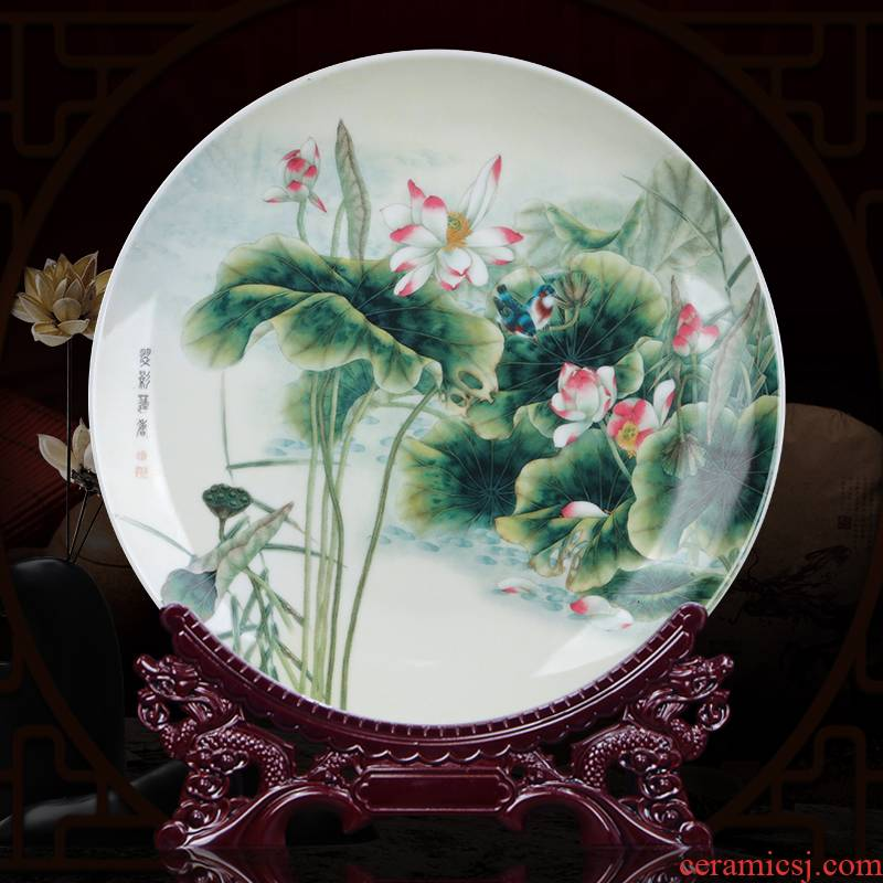 Jingdezhen ceramics 10 inch lotus decoration dish hang dish by dish dish home sitting room adornment is placed the process