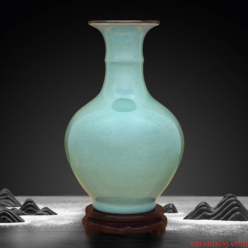 Pea green vase of crack to industry