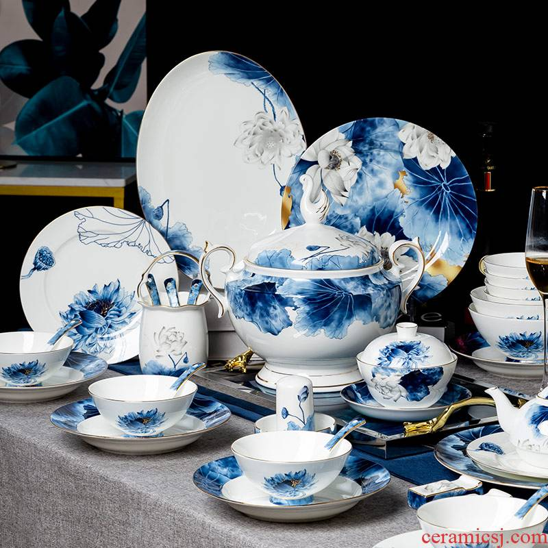 High - grade ipads China tableware suit new Chinese dishes combination of jingdezhen porcelain ipads China dishes suit household wind