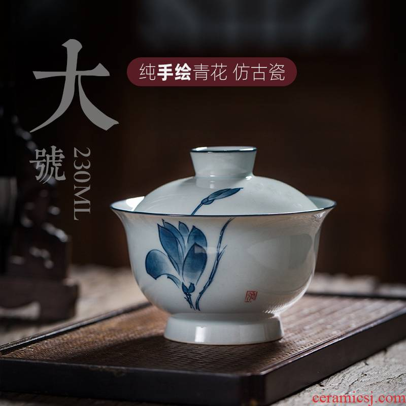 Hand - made tea tureen large single kung fu tea set jingdezhen porcelain ceramic three bowl cups under the glaze color