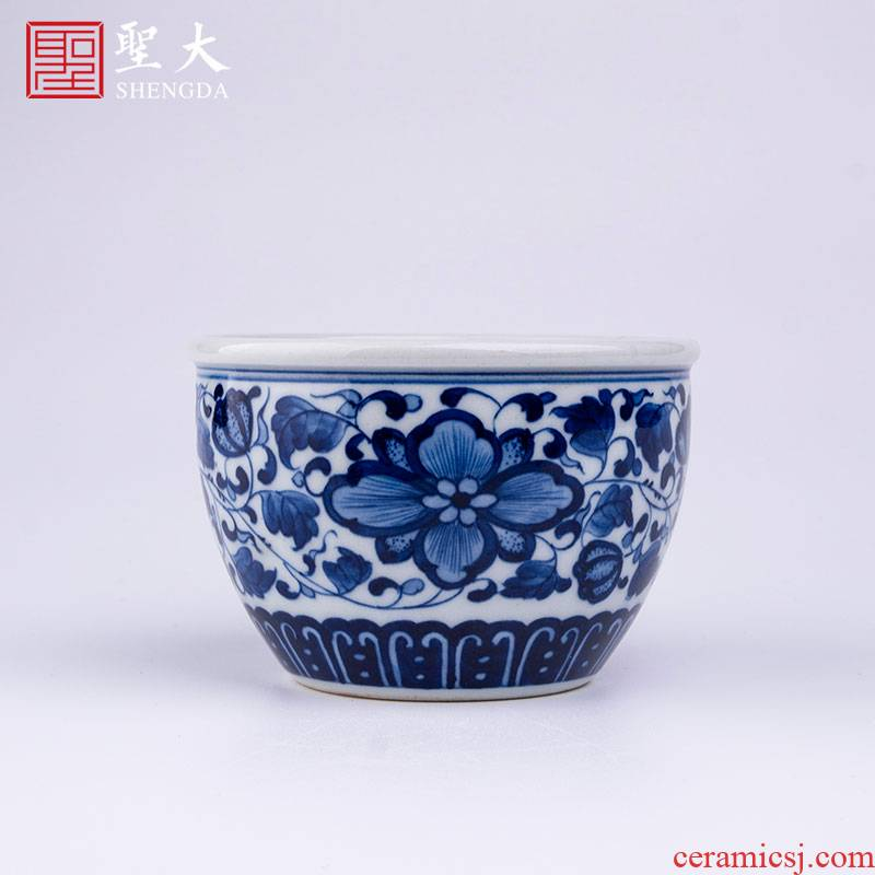 Holy big blue - and - white porcelain lotus petals edging around branch lines lie fa cup pure manual hand - made flowers jingdezhen kung fu tea cups