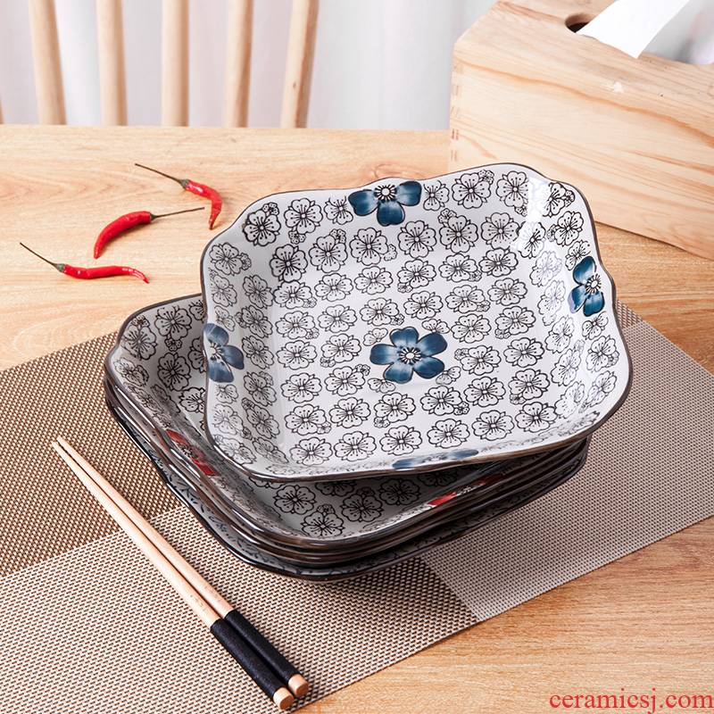 Missing Angle square jingdezhen Japanese ceramic plate four square plate special - shaped fruit bowl dish plate cold dish plate move