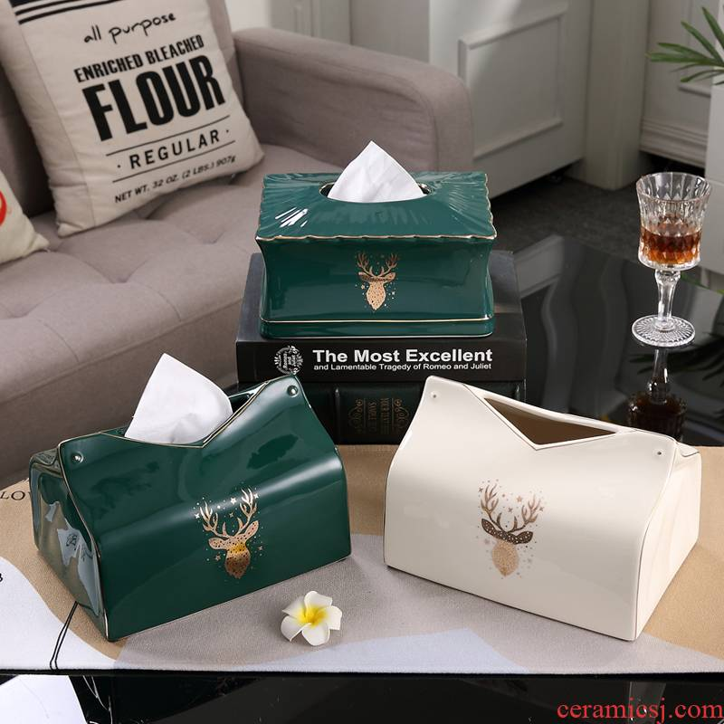 Ceramic tissue box European American sitting room tea table light key-2 luxury furnishing articles contracted household gold box decorate the table