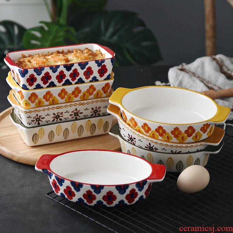 The Mini oven baking small ears rectangle plate ceramic baking oven with cheese baked FanPan household